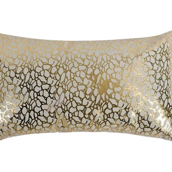 Daisy Rectangular Pillow White And Gold White