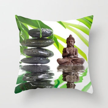 Buddha Relaxing  Throw Pillow by Tanja Riedel | Society6