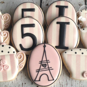 Paris Parisian Tea Party Birthday Cookies