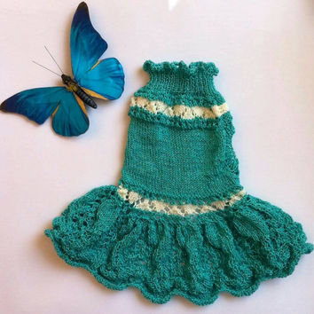 Knit Summer Dress For Dog. Small Dog Summer Dress. Pet Knit Clothing. Dress For Small Dogs. Size S