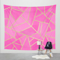 Pink Stone / Gold Lines Wall Tapestry by Elisabeth Fredriksson