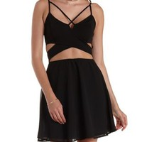 Black Caged Crossover Cut-Out Skater Dress by Charlotte Russe