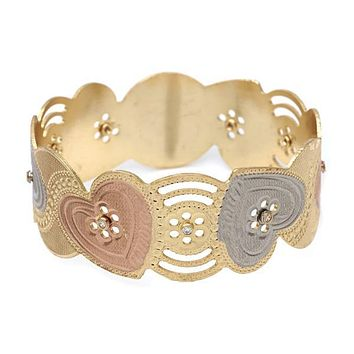 Gold Plated 03.08.0102.05 Individual Bangle, Heart Design, Polished Finish, Tri Tone (25 MM Thickness, Size 5 - 2.50 Diameter)