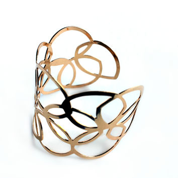 """Loops & Patterns"" Gold Cuff Bracelet"