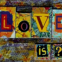 Love Is Abstract Mixed Media 8.5 X 11 Glossy Print Framed under Glass.