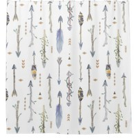 Boho Chic Tribal Arrows Patterned Shower Curtain