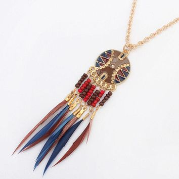 New Bohemian Jewelry Dream catcher Rhinestone Feather bead Tassel Pendant Necklace For Women Charm Jewelry