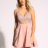 Mauve Embroidered Cut Out Flared Dress