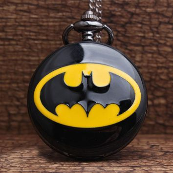 Batman Dark Knight gift Christmas 2017 Hot Retro Unique Batman Black Quartz Steampunk Pocket Watch Mens Analog Necklace Chain Mens Womens Watches Best Gift P199 AT_71_6