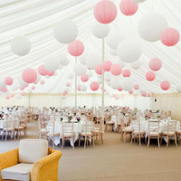 24 Mixed White Pink  Paper Lanterns for Wedding Engagement Baby Shower Birthday Party Nursery Decoration