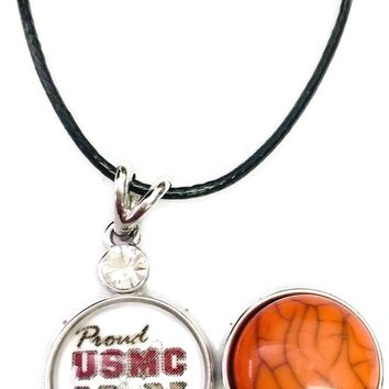 "Proud USMC Mom Snap on 18"" Leather Rope Diamond Pendant Necklace W/ Extra 18MM - 20MM Snap Charm"