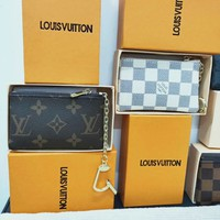 LV LV Louis Vuitton New fashion classic chessboard chain key case wallet