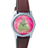 Christmas Tree Lineart Wrist Watch