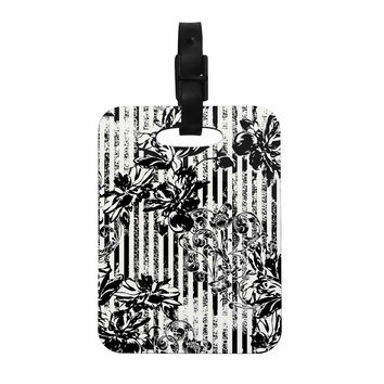 "Victoria Krupp ""Stripes And Flowers"" Black White Digital Decorative Luggage Tag"