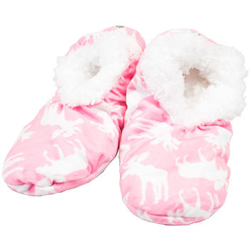 Pink Classic Moose Fuzzy Feet Womens Slippers