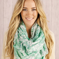 """right on abstract"" tassel scarf in mint - three bird nest"