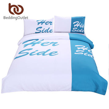 BeddingOutlet Teal Bedding His Side & Her Side Bedspreads Bed Cover 3Pcs Queen King parure de lit adulte Limited