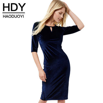 Blue Elegant Party Club Women Midi Dress Solid Crew Neck Cut Out High Waist A-line Dress Half Sleeve Zipper Dress