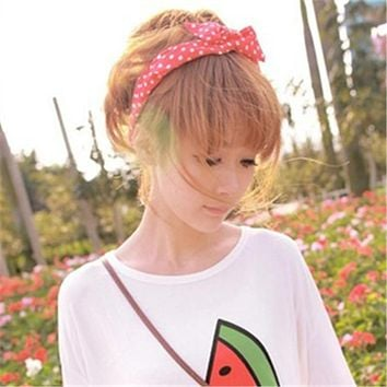 1Pc Cute Leopard Dots lip print flower Bunny Rabbit Ear Ribbon Headwear Hairband Metal Wire Scarf Headband Hair Band Accessories