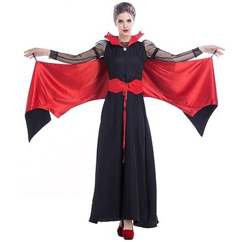 Halloween Vampire Costume Queen Long Maxi Dress Party Witch Costumes Women Roleplay Clothes Masquerade Party Cosplay