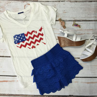 Chevron American Flag Top