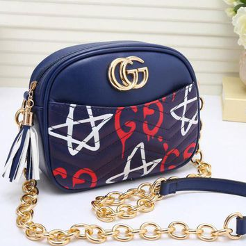 Gucci Fashion Women Metal GG Logo Print Leather Zipper Shoulder Bag Crossbody Satchel Blue I