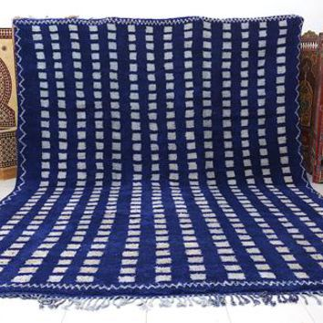 Large Blue Beni ourain rug 11ft x 13.8ft, All hand knotted by 100% genuine wool,