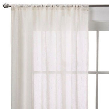 Room Essentials Crinkle Sheer Curtain Panel L 40 X 63 Ivory