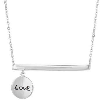 """Sterling Silver Sideways Bar With Dangling """"Love"""" Charm Fashion Necklace - 18 Inch"""