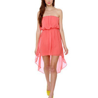 Pretty Strapless Dress - Coral Dress - High Low Hem Dress - $36.00