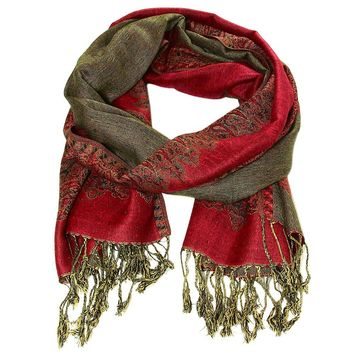 Double Sided Cherry Red Pashmina