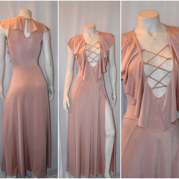 New Blush Lace Up Low V Ruffled Double Slit Maxi Dress Size Large