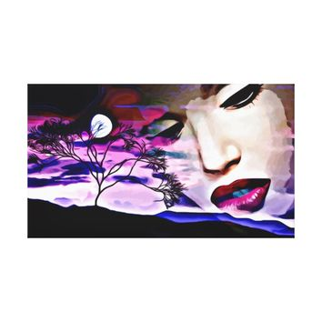 Night Goddess Looking Down From Night Sky Abstract Canvas Print