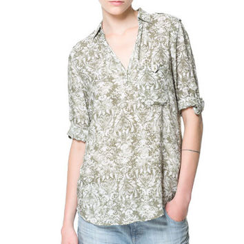 Floral Print V-Neck Turn-down Collar Long Sleeve Bohemian Blouse