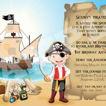 Pirate Birthday Party Invitation - Digital File