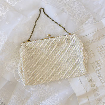 Vintage Ivory Purse Beaded Clutch Retro Purse Beaded Purse Cream Evening Bag 1950s Ivory Bridal Purse Ivory Clutch Purse 50s Evening Purse