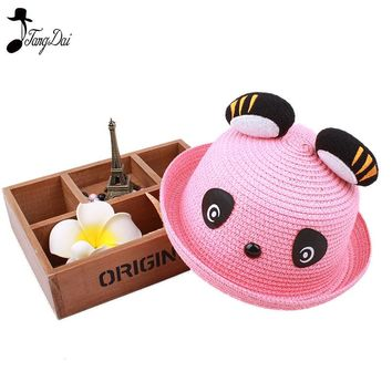 2018Cute Panda Straw Hat Spring Summer Boys and Girls Fashion Straw Hats Children Caps Kids Strawhat Baby Hat Kids Bucket Hat