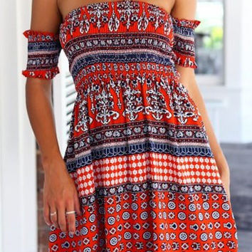 Bohemian Style Strapless Mini Dress