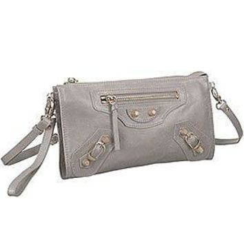 balenciaga clutch argent silver with gold hardware 607833 2