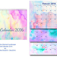 2016 Calendar printable - monthly calendar - A4 size - abstract watercolor landscape instant download scrapbook