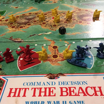 "Vintage 1965 Command Decision ""Hit The Beach"" World War 2 Board Game / Pacific Campaign / Milton Bradley Retro Games / Complete Game"
