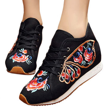 Prunus Triloba Sports Shoes Vintage Beijing Cloth Shoes Embroidered Shoes   black  35