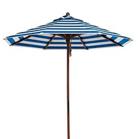 Turquoise White Stripe 9-Ft Outdoor Market Patio Umbrella with Wood Pole