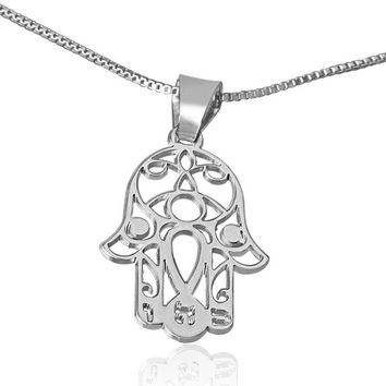 Hamsa Hand Necklace in White Gold From Israel Jewelry Handmade White Gold Hamsa Hand Necklace Bat Mitzvah Gifts Birthdays Gifts From Israel