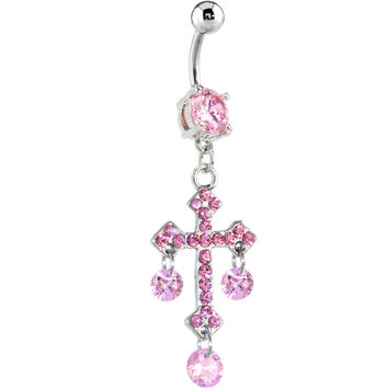 Pink Cubic Zirconia Floating Cross Dangle Belly Ring