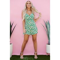 Ayy Poppy Floral Romper (Green Floral)