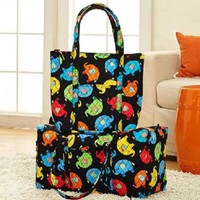 2 Pc Elephants Quilted Tote & Duffel Bag Set Pockets Handles Travel Luggage