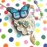 Butterfly Pendant and Brooch Necklace with Lace Detail in Shades of Blue