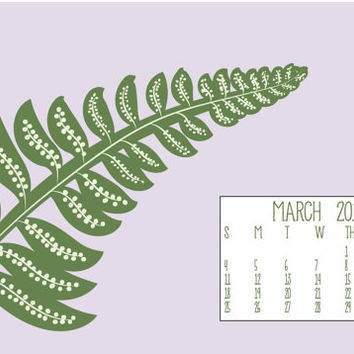 Instant Download - March 2015 Fern Leaf Spring Season Illustration Computer Desktop Monthly Calendar
