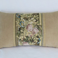 """Gold Tapestry Border Pillow, Floral Pink Yellow Brown and Teal Tones,  12x20"""" Lumbar Rectangle, Vintage Look, Ready To Ship"""